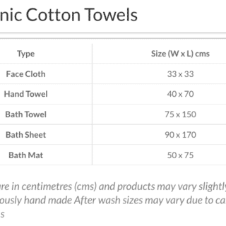 Size Guide OC Towels