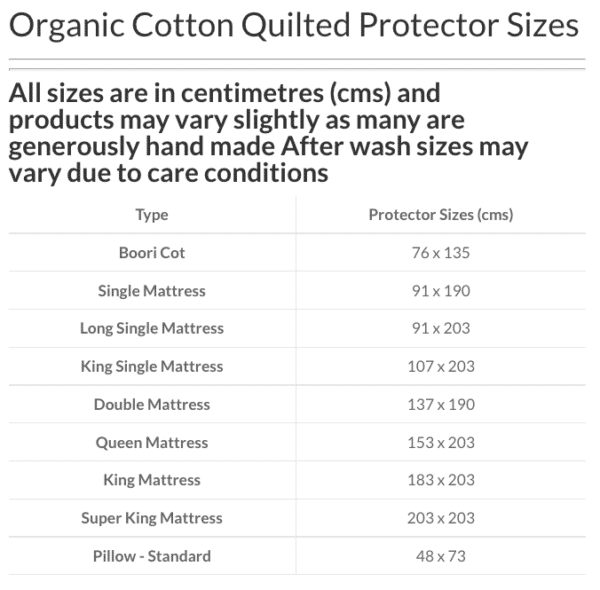 ecoLinen-organic-cotton-quilted-protector-size-guide